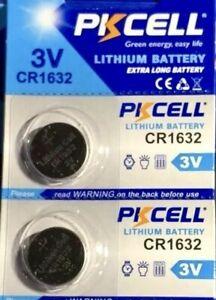 CR1632 PKCELL / 1632 ECR1632 3V BUTTON COIN CELL (2 BATTERIES) USA Seller
