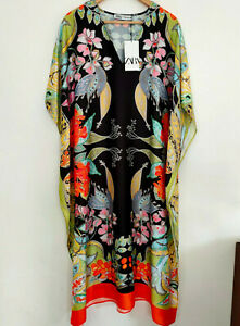 Zara SS21 Long Flowing Printed Dress Kaftan Tunic v/Generous XS-S BNWT