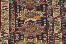 Pre-1900 Antique Vegetable Dye Tribal Kazak Caucasian Area Rug Shirvan