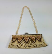 SASHA Clutch Beige Brown Beaded Purse Crystal Strap Evening Bag Party Small