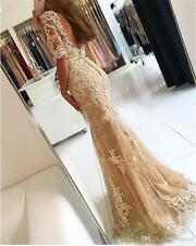 Long Mermaid Lace Formal Evening Dress Celebrity Pageant Wedding Party Prom Gown