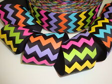 2 1/4 Chevron Zig Zag Stripe Multi Bright Grosgrain Ribbon 4 Hairbow Bow Black