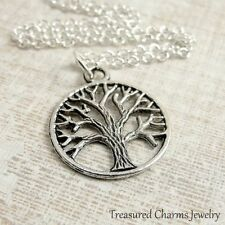 Silver Tree of Life Charm Necklace - Family Tree Roots Nature Pendant Jewelry