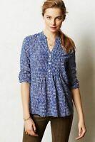 HD In Paris Top Blouse Shirt Womens Sz 8 Blue White Kaverie Henley Anthropologie