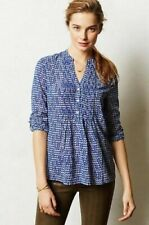 HD In Paris Top Blouse Shirt Womens Sz 8 Blue White Kaverie Henley Anthropologie
