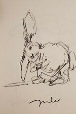 JOSE TRUJILLO - Original Charcoal Paper Sketch Drawing 11X17 BUNNY RABBIT SIGNED