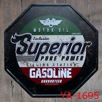 Metal Tin Sign motor oil superior gasoline Bar Pub Vintage Retro Poster Cafe ART
