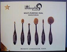ORGOGLIO London Multi-Purpose OVALE Make-Up Brush Set 6pcs Nero con Spazzola di pulizia