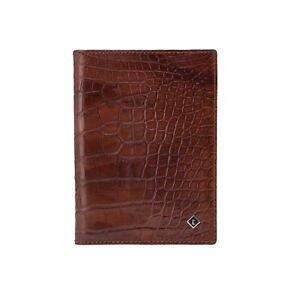 a.Testoni Bologna Vintage Rum Passport Holder Wallet Genuine Alligator