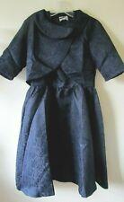 LINDY BOP DRESS & JACKET NAVY BLUE JACQUARD MID CENTURY 1950s  Sz 12 NEW