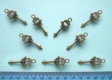 PENDANTS or CHARMS / Bronze Metal / LARGE KEY / Pack of 10 /Nickel & Lead Free