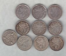 More details for ten silver three pence dated 1875 to 1935 in good fine or better condition