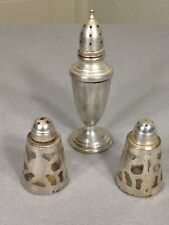 vintage lot of three sterling silver salt and pepper shakers