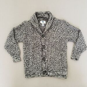 Old Navy Boys XS (5) Knit Sweater Cardigan Gray/ White Button Down