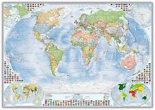 Politische Weltkarte 100x70 cm, deutsch, Pinnwand im Alurahmen