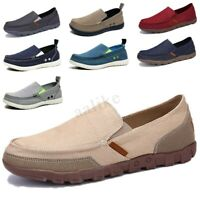 Men Driving Canvas Loafers Breathable Casual Flats Driving Boat Shoes Slip On 1