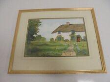 Color de agua de una casa rural en un marco dorado. bur Lp B33