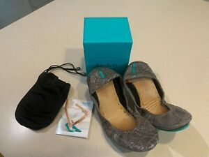 TIEKS by Gavrieli Women's Slate Grey Patent Leather Croc Print Flats Size 6