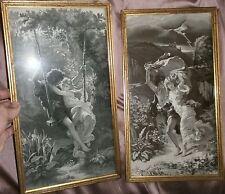 2 cadres avec soies tissées d'après les peintures académiques de Pierre A. COT