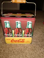 Vintage Style Coca-Cola 6 Pack Metal Tin Box W/ Wire & Wood Handle!
