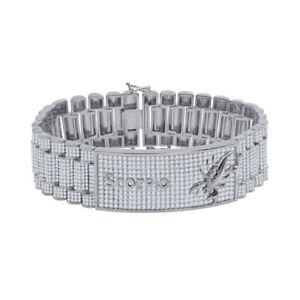 Presidential Link 18K White Gold Finish Zodiac Sign Simulated Diamond Bracelet