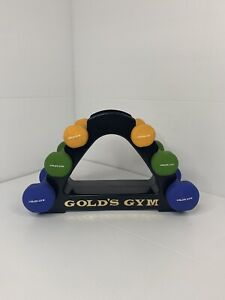 Gold's Gym Neoprene Dumbbell Set Of 2, 3, 5 LB w/ Rack Stand Weights 20lb Total