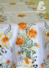 Oblong Table Runner, Embroidered  Orange Flowers, 40x135cm (16x54in) FFDWY52