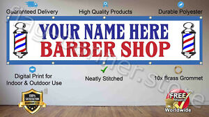 Your Name Personalized Flag 2x8ft Banner Custom Barber Shop Wall Sign FREE SHIPP