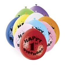 AGE 1 BALLOONS pack of 10 -   BABY'S 1ST - HAPPY BIRTHDAY PARTY BALLOONS