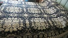 "Antique Early Coverlet Indigo Blue & White Roses, Jacquard 88""x72"""