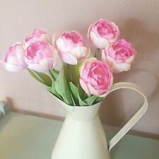 Bunch of 6 Pretty Pink Tulips, Realistic Artificial Faux Silk Flowers, Tulip