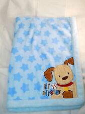 Just Born Lil All Star Puppy Dog Baby Blanket Blue  Plush Stars