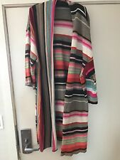 Oilily Italy merino wool khaki orange pink striped cardigan sweater coat XL $329