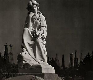 1939/72 Vintage ANSEL ADAMS Statue n Oil Tower Derrick Landscape Photo Art 11X14