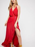 Free People Karina Red Maxi Dress Size: S Small Halter Slit Endless Summer New
