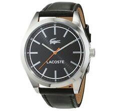 Lacoste Men's Edmonton Stainless Steel Black Leather Strap Watch 010888