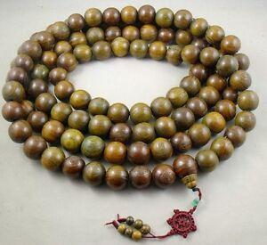 25mm Huge Tibetan Buddhism 108 Green sandalwood Prayer Bead Mala Necklace