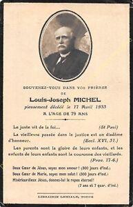Généalogie Avis de décès Mr LOUIS JOSEPH MICHEL 17 04 1933
