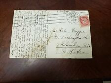 Vintage Post Card With A stamp Of Norway Traveling To USA.(P8)