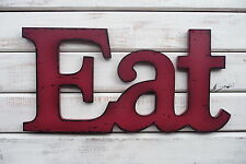 EAT ~ Red Wood Distressed LETTER Kitchen Rustic Urban Farmhouse Sign WALL DECOR