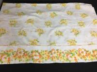 GRANTS Home vintage flat twin sheet no iron muslin fabric orange flowers floral