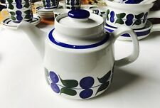 RORSTRAND IRENE Pattern Teapot & Lid Midcentury Rare Retro 6 Cup Blue Green