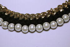 Vintage Gold Metal Chain Pearl Black Fabric necklace