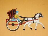 """VINTAGE 9 1/2"""" LONG 1975 HOMCO PLASTIC  HORSE & CARRIAGE WALL DISPLAY"""