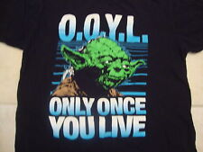 """Star Wars Yoda """"Only Once You Live"""" O.O.Y.L. T Shirt L (fits like a M)"""