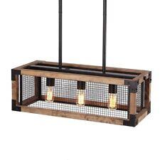 Industrial Loft Rectangle Pendant Lights Metal Wood Kitchen Island Light Fixture