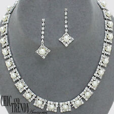 CLEARANCE WHITE PEARL PROM BRIDESMAID WEDDING FORMAL NECKLACE JEWELRY SET TRENDY