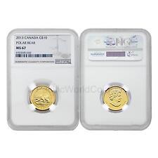 Canada 2013 Polar Bear $10 1/4 oz Gold NGC MS67