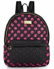 BETSEY JOHNSON Backpack Tie The Knot Quilted Hearts Nylon Polka Dot Fuchsia Blk