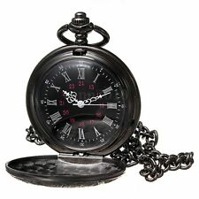 W6 Steampunk Black Roman Numerals Necklace Quartz Pendant Pocket Watch Gift